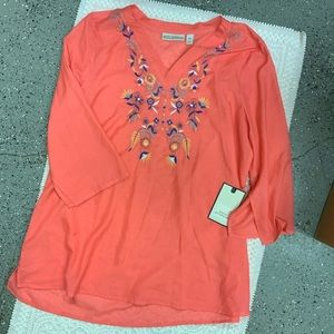New Dana Buchman Sheer Embroidered Tunic XL